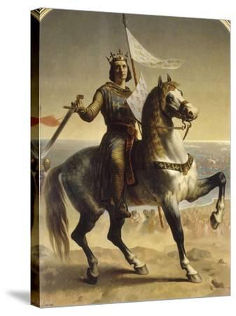 Saint Louis (Louis IX), roi de France en 1226 (1214-1270), portrait équestre lors de son-Emile Signol-Stretched Canvas Print