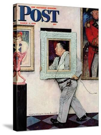 """""""Picture Hanger"""" or """"Museum Worker"""" Saturday Evening Post Cover, March 2,1946-Norman Rockwell-Stretched Canvas Print"""
