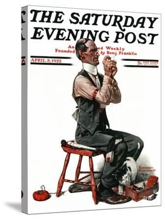 """""""Threading the Needle"""" Saturday Evening Post Cover, April 8,1922-Norman Rockwell-Stretched Canvas Print"""