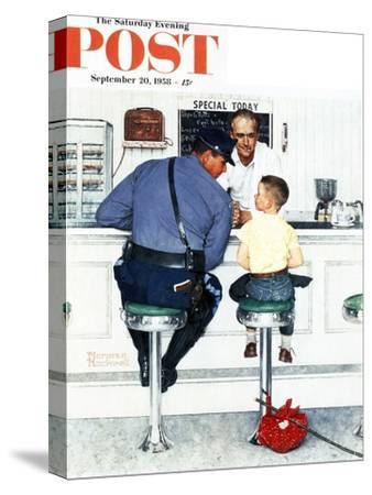 """""""Runaway"""" Saturday Evening Post Cover, September 20,1958-Norman Rockwell-Stretched Canvas Print"""