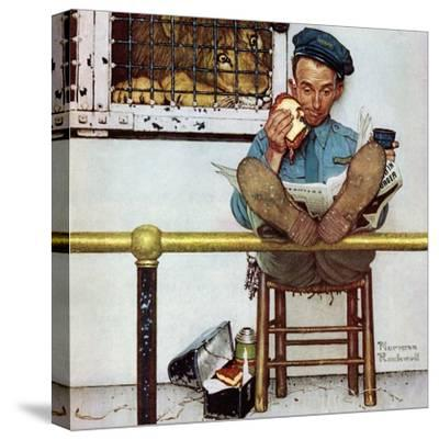 """""""Lion and His Keeper"""", January 9,1954-Norman Rockwell-Stretched Canvas Print"""