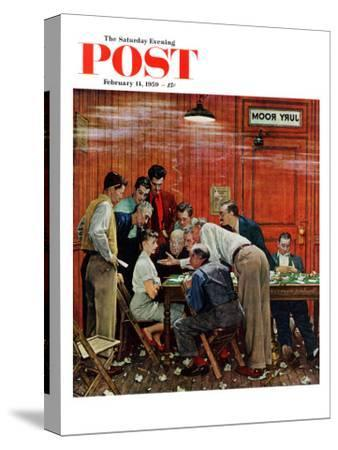 """""""Jury"""" or """"Holdout"""" Saturday Evening Post Cover, February 14,1959-Norman Rockwell-Stretched Canvas Print"""
