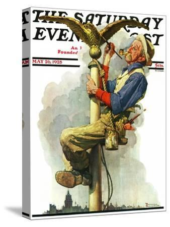 """""""Gilding the Eagle"""" or """"Painting the Flagpole"""" Saturday Evening Post Cover, May 26,1928-Norman Rockwell-Stretched Canvas Print"""