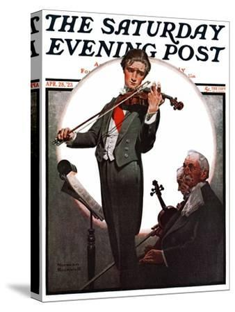 """Violin Virtuoso"" Saturday Evening Post Cover, April 28,1923-Norman Rockwell-Stretched Canvas Print"