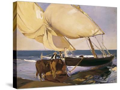 Launching the Boat-Joaqu?n Sorolla y Bastida-Stretched Canvas Print