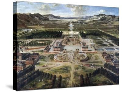 View of Chateau and Gardens of Versailles, Taken from Paris Avenue-Pierre Patel-Stretched Canvas Print