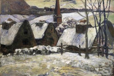 Breton Village in Snow-Paul Gauguin-Stretched Canvas Print