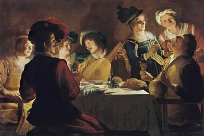 Supper with the Minstrel and His Lute-Gerrit van Honthorst-Stretched Canvas Print