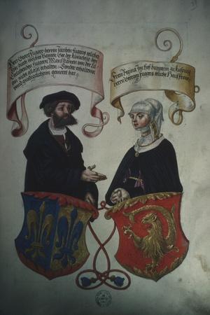 Georg Fugger and His Wife Regina Imhoff, from 'Geheim Ehrenbuch Des Fuggerschen Geschlechts'-German School-Stretched Canvas Print