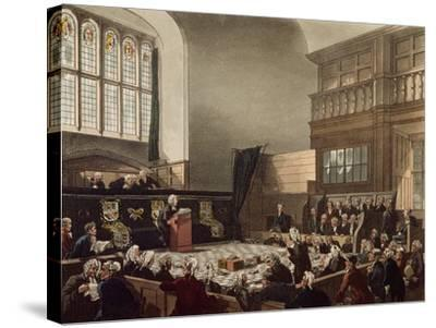 Court of Exchequer, Westminster Hall, from 'The Microcosm of London', Engraved by J. C. Stadler-Thomas Rowlandson-Stretched Canvas Print