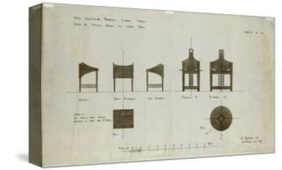 Designs for Writing Desks Shown in Front and Side Elevations, for the Ingram Street Tea Rooms, 1909-Charles Rennie Mackintosh-Stretched Canvas Print