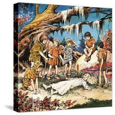 The Lost Boys' Concern for Injured Wendy, Illustration from 'Peter Pan' by J.M. Barrie-Nadir Quinto-Stretched Canvas Print