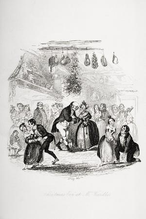 Christmas Eve at Mr. Wardle's, Illustration from `The Pickwick Papers' by Charles Dickens-Hablot Knight Browne-Stretched Canvas Print