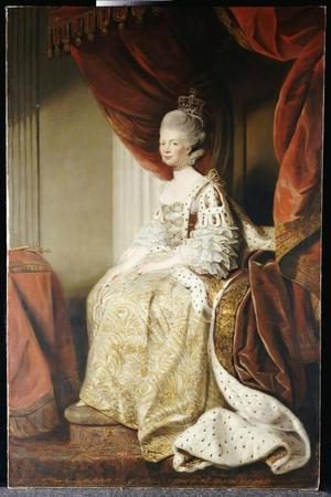 Portrait of Queen Charlotte, Full Length, Seated in Robes of State-Sir Joshua Reynolds-Stretched Canvas Print
