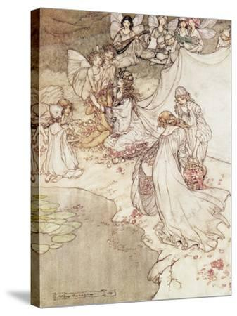 Illustration for a Fairy Tale, Fairy Queen Covering a Child with Blossom-Arthur Rackham-Stretched Canvas Print