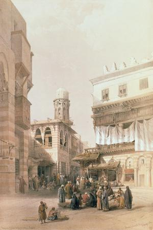 """Bazaar of the Coppersmiths, Cairo, from """"Egypt and Nubia"""", Vol.3-David Roberts-Stretched Canvas Print"""