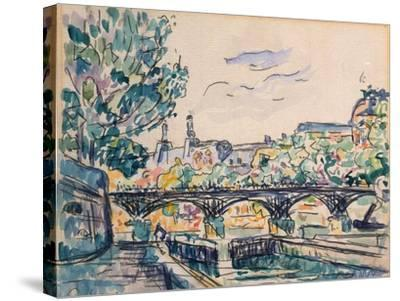 Bank of the Seine Near the Pont Des Arts, with a View of the Louvre-Paul Signac-Stretched Canvas Print