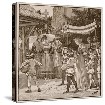 The Wedding of Jack of Newbury: the Bride's Procession-English School-Stretched Canvas Print