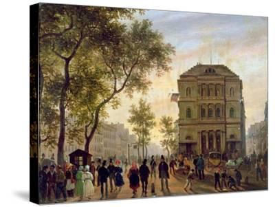 Boulevard Saint-Martin and the Theatre De L'Ambigu, 1830-Guiseppe Canella-Stretched Canvas Print
