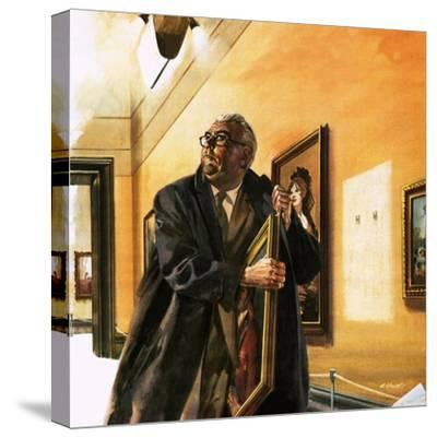 Taxi Driver Stealing Goya's Portrait of Wellington-Andrew Howat-Stretched Canvas Print