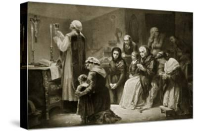 Celebration of Mass During the French Revolution-Charles Louis Lucien Muller-Stretched Canvas Print