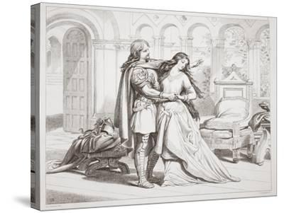 Hereward's First Interview with Torfrida-Henry Courtney Selous-Stretched Canvas Print