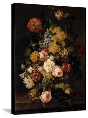 Still Life - Roses, Tulips and Other Flowers- Petter-Stretched Canvas Print