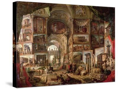 Interior of an Imaginary Picture Gallery-Giovanni Paolo Pannini-Stretched Canvas Print