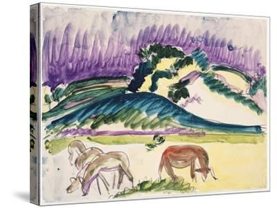 Cows in the Pasture by the Dunes, 1913-Ernst Ludwig Kirchner-Stretched Canvas Print