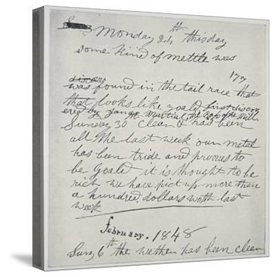 Diary Entry of Gold Prospector, 1848-American School-Stretched Canvas Print