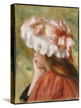 Head of a Young Girl in a Red Hat-Pierre-Auguste Renoir-Stretched Canvas Print