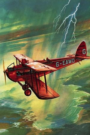 Airliner Struck by Lightning-English School-Stretched Canvas Print