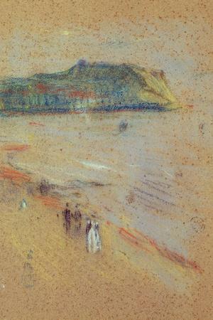 Figures on a Beach Near Cliffs-James Abbott McNeill Whistler-Stretched Canvas Print