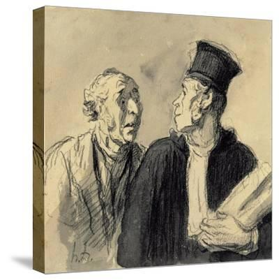 The Lawyer and His Client-Honore Daumier-Stretched Canvas Print