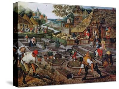 Gardening, C.1637-38-Pieter Brueghel the Younger-Stretched Canvas Print