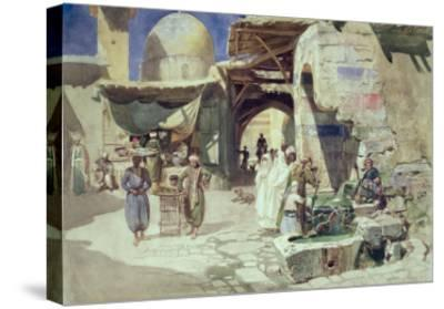 An Arab Street Scene-Carl Friedrich Heinrich Werner-Stretched Canvas Print