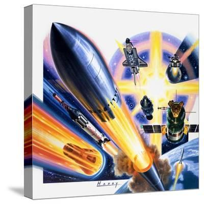 Heading for Space-Wilf Hardy-Stretched Canvas Print