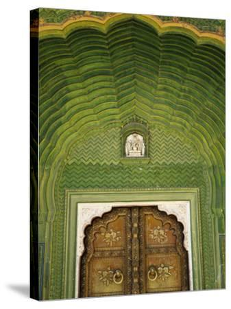 Detail of Green Gate, Pitam Niwas Chowk, City Palace-Kimberley Coole-Stretched Canvas Print