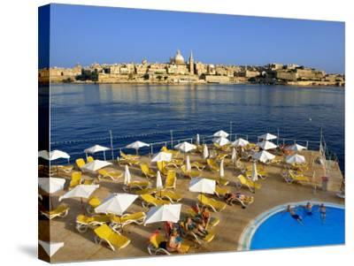 Valletta Skyline with Tourists Relaxing around Pool in Foreground-Jean-pierre Lescourret-Stretched Canvas Print