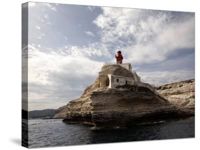 Bonifacio Lighthouse-Manfred Hofer-Stretched Canvas Print