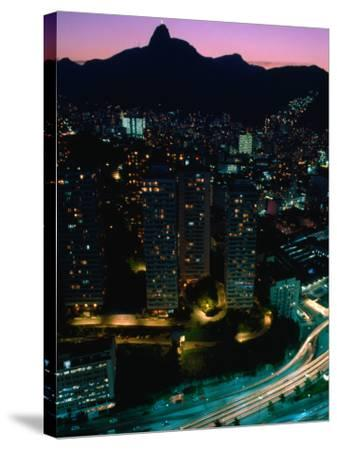View over Praca (Square) Juliano Sodre in Rio at Night-Tom Cockrem-Stretched Canvas Print