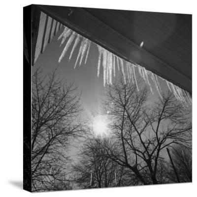 Icicles on Roof an Sun-George Marks-Stretched Canvas Print