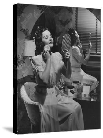 Woman Applying Make Up at Vanity Table-George Marks-Stretched Canvas Print