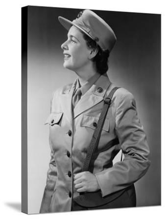 Woman Wearing Military Uniform-George Marks-Stretched Canvas Print