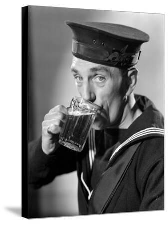 Sailor Drinking Beer--Stretched Canvas Print