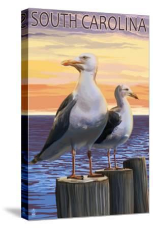 South Carolina - Sea Gulls-Lantern Press-Stretched Canvas Print