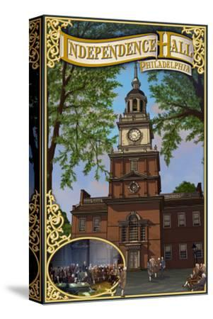 Independence Hall - Philadelphia, Pennsylvania-Lantern Press-Stretched Canvas Print