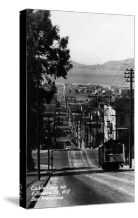 San Francisco, California - Cable Cars on Fillmore Street Hill-Lantern Press-Stretched Canvas Print