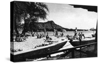 Hawaii - O'ahu Island; Diamond Head from Outrigger Canoe Club-Lantern Press-Stretched Canvas Print