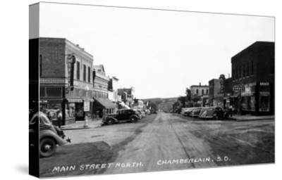Chamberlain, South Dakota - Northern View up Main Street-Lantern Press-Stretched Canvas Print